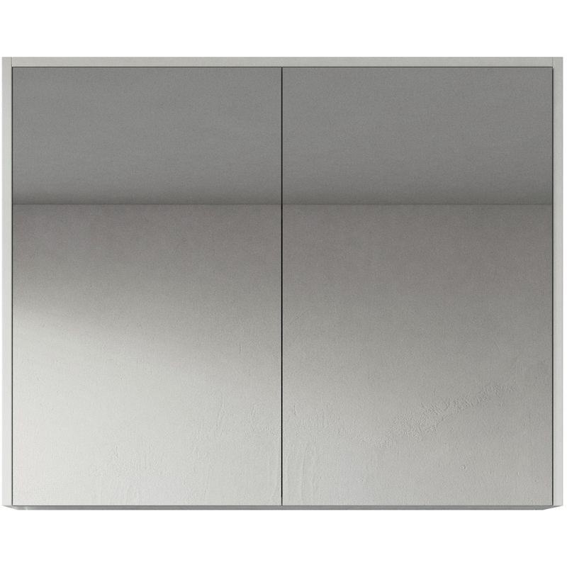 Spiegelschrank Cuba 90cm Hochglanz weiß - Schrank Spiegelschrank Spiegel Badezimmer Badmöbel Set Hängeschrank Badschrank - BADPLAATS