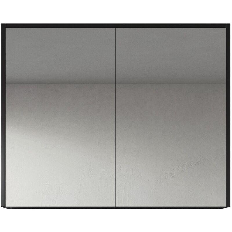 Spiegelschrank Cuba 90cm Schwarzes Holz - Schrank Spiegelschrank Spiegel Badezimmer Badmöbel Set Hängeschrank Badschrank - BADPLAATS