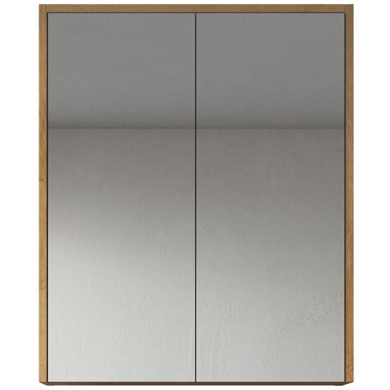 Spiegelschrank Cuba 60cm Eiche - Schrank Spiegelschrank Spiegel Badezimmer Badmöbel Set Hängeschrank Badschrank - BADPLAATS