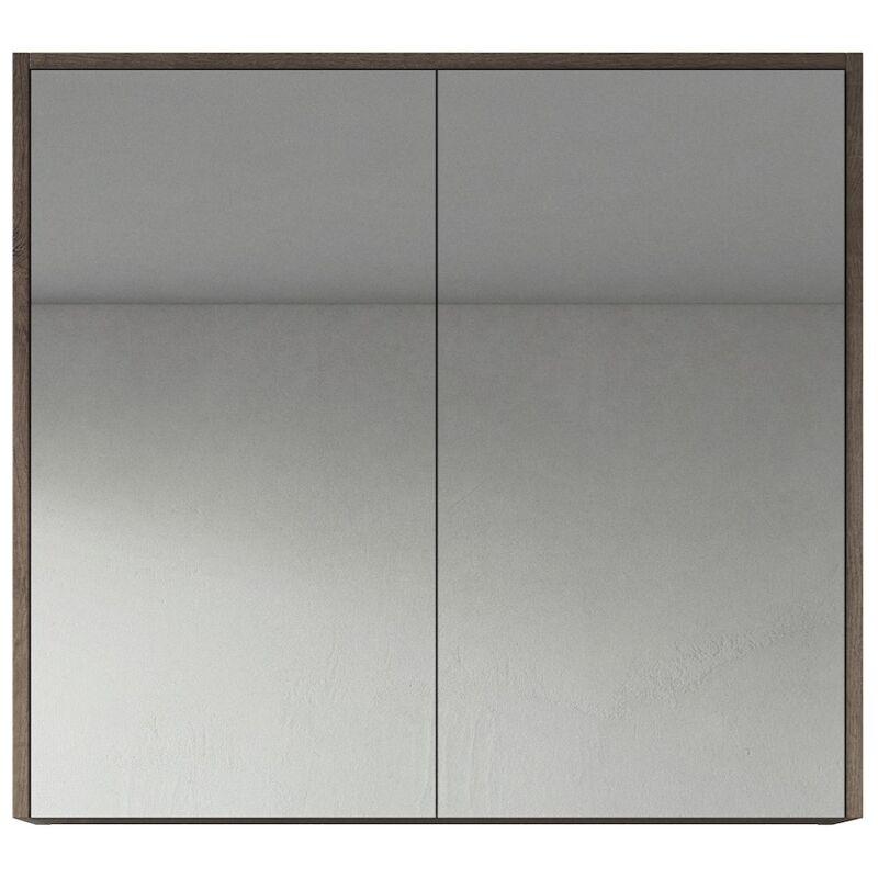 Spiegelschrank Cuba 80cm Braun Eiche - Schrank Spiegelschrank Spiegel Badezimmer Badmöbel Set Hängeschrank Badschrank - BADPLAATS