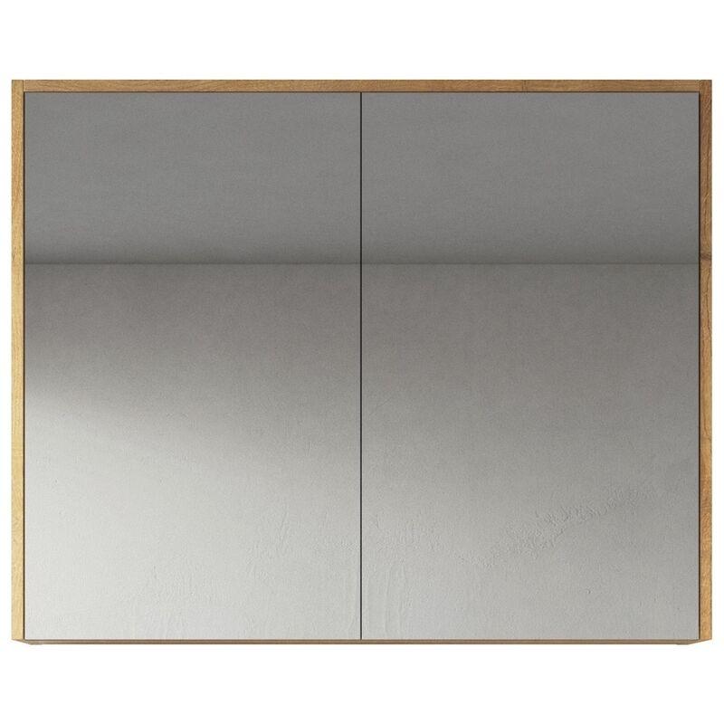 Badplaats - Spiegelschrank Cuba 80cm Eiche - Schrank Spiegelschrank Spiegel Badezimmer Badmöbel Set Hängeschrank Badschrank