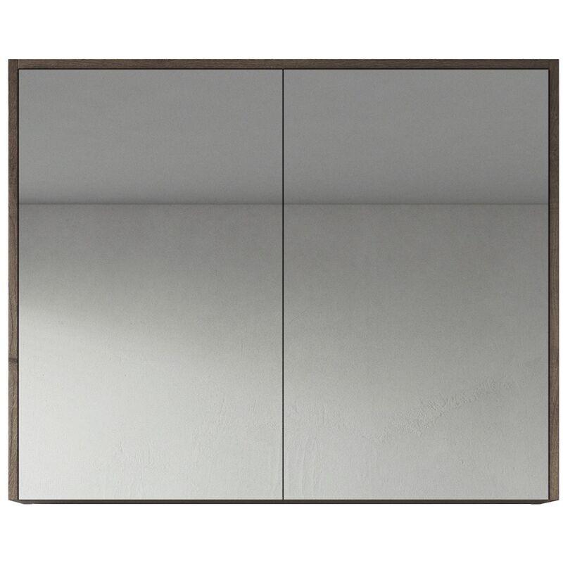 Spiegelschrank Cuba 90cm Braun Eiche - Schrank Spiegelschrank Spiegel Badezimmer Badmöbel Set Hängeschrank Badschrank - BADPLAATS