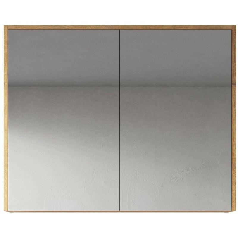 Spiegelschrank Cuba 90cm Eiche - Schrank Spiegelschrank Spiegel Badezimmer Badmöbel Set Hängeschrank Badschrank - BADPLAATS