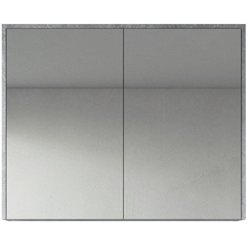 Spiegelschrank Cuba 90cm F.ash - Schrank Spiegelschrank Spiegel Badezimmer Badmöbel Set Hängeschrank Badschrank - BADPLAATS