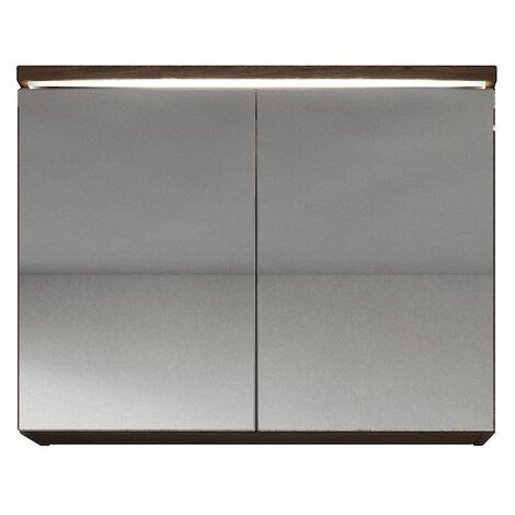 Spiegelschrank Paso 80 cm Lefkas (Braun) - Schrank Spiegelschrank Spiegel  Badezimmer Badmöbel Set Hängeschrank