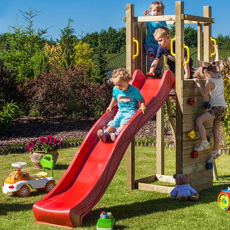 Beliebt Spielplatz für Kinder mit Rutsche mit Kletterwand Garten Funny3 GK25