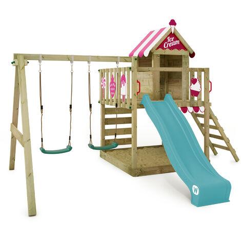 WICKEY Spielturm Kletterturm TinySpot Garten Spielplatz Grüne Rutsche und Plane