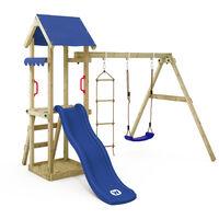 Spielturm TinyCabin Kletterturm Spielplatz mit Schaukel und Rutsche, Sandkasten und Strickleiter