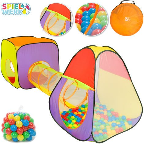 Spielwerk Kids Play Tent Balls Pit Pop Up Toddler Folding Playhouse Tunnel Set Children Boys Girls Babies Indoor Outdoor
