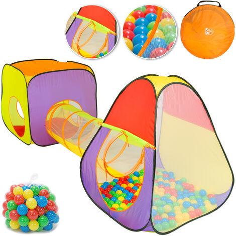 Spielwerk Tienda de campaña con bolas y túnel XL 3en1 función Pop Up piscina de bolas para niños bebés interior exterior