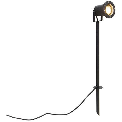 Spike Spot de Plafond noir 40 cm avec câble et fiche IP44 - Basic Qazqa Moderne Luminaire exterieur IP44 Rond
