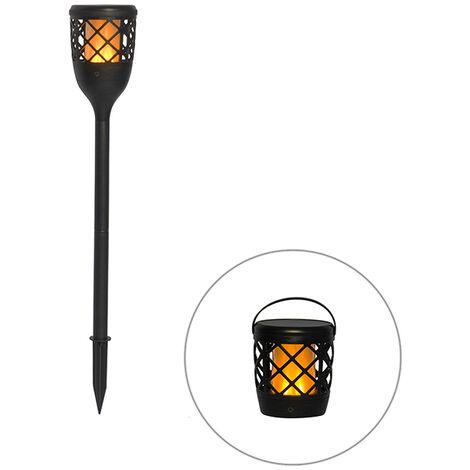 Spike Spot de Plafond noir avec effet flamme avec LED 2W - Toci Qazqa Classique/Antique Luminaire exterieur IP65