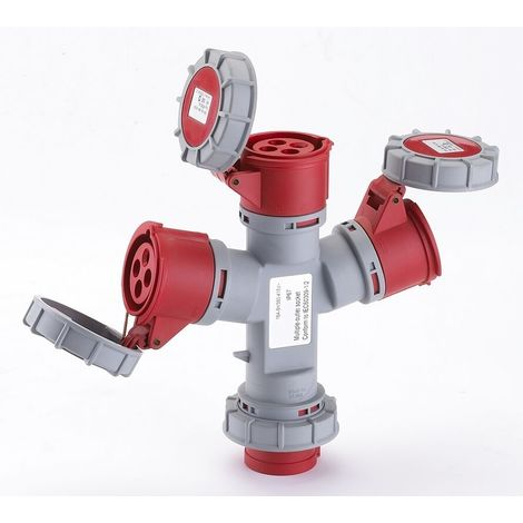 Spina adattatore triplo industriale trifase 16a rossa maurer ip67 4 poli 3p+t