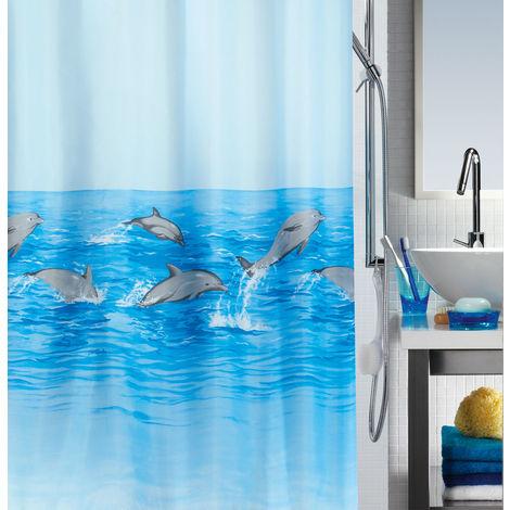 """Spirella Anti-Schimmel Duschvorhang """"Delfine"""" Anti-Bakteriell, waschbar, wasserdicht Polyester 180x200cm"""
