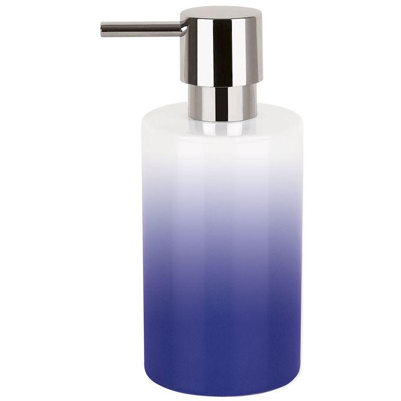 Dispensador de jabon Spirella 'Tube' de porcelana en color azul Ø7 x 16 cm