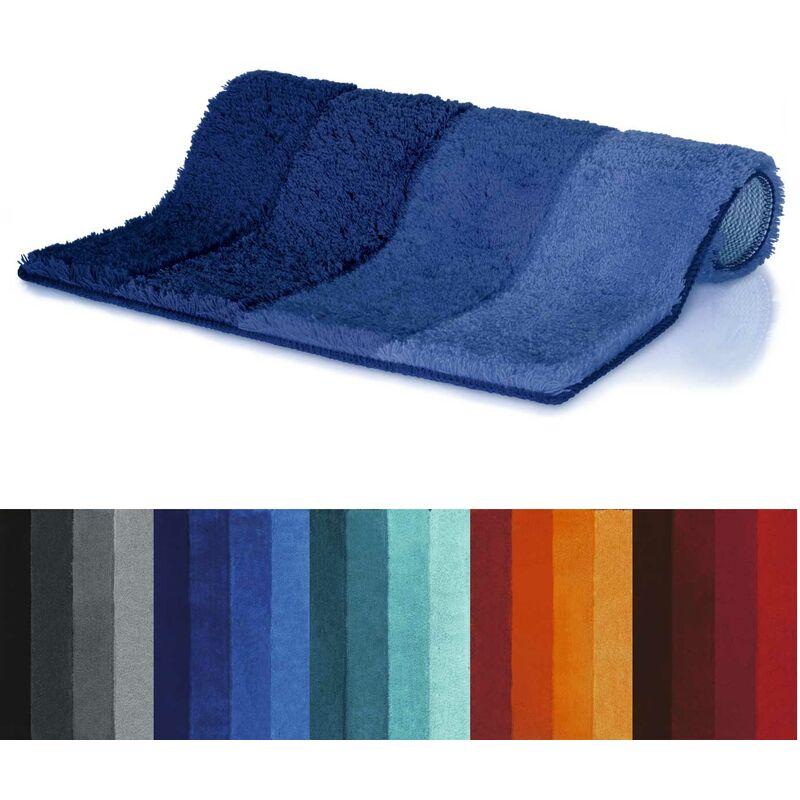 kuscheliger Hochflor spirella Badematte Blau Rutschfester Badvorleger 55x55 cm mit WC Ausschnitt viele Gr/ö/ßen waschbar 40/°