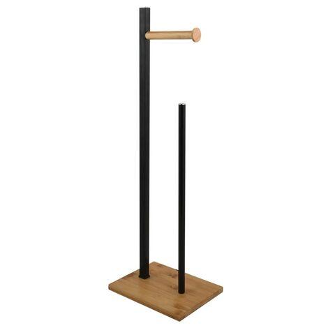 Spirella Porte Rouleau papier Wc sur Pied Acier& Bambou ALVAR Noir Matt - Noir Matt