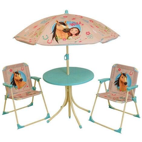 SPIRIT SALON DE JARDIN INCLUANT 1 TABLE RONDE, 2 CHAISES, 1 PARASOL POUR ENFANT