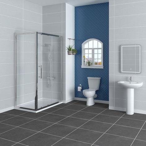 Splash 1200mm Sliding Door Shower Enclosure Suite with Easy Clean Glass