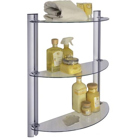 SPLASH - 3 Tier Glass Adjustable Bathroom Wall Storage Shelves - Silver