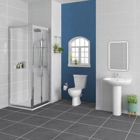 Splash 800 x 800mm Bi-Fold Door Shower Enclosure Suite with Easy Clean Glass