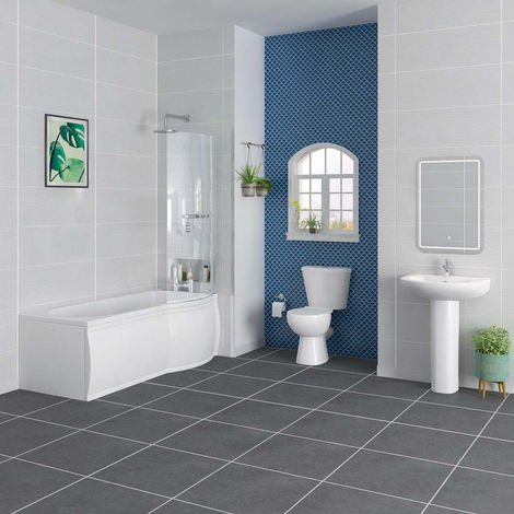 Splash Bathroom Suite with 1675mm Right Hand P Shape Shower Bath