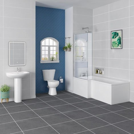 Splash Bathroom Suite with 1700mm Left Hand L Shape Shower Bath