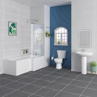 Splash Bathroom Suite with 1700mm Right Hand L Shape Shower Bath