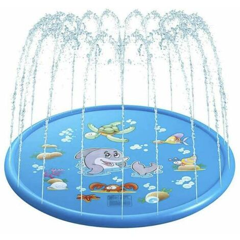 Splash Pad Suction Cushion 170 cm Water Play Mat Party Sprinkler Splash Pad Summer Spray Toys for Children and Pets Outdoor Garden Family Activities