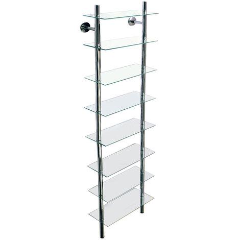 SPLASH - Wall Mounted Glass Bathroom Storage Shelf - Clear