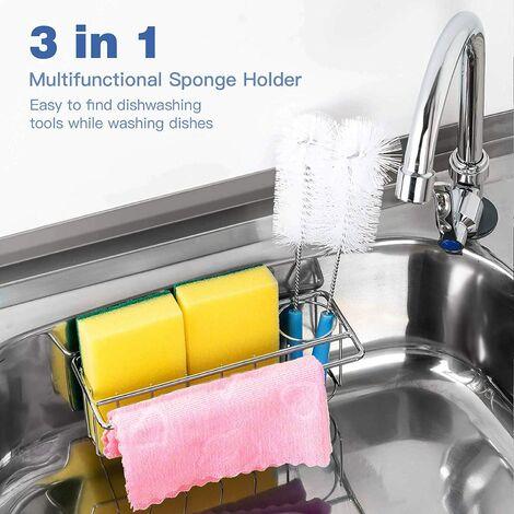 "main image of ""Sponge Holder for Kitchen Sink ,3 in 1 Adhesive Sponge Rag Brush Holder Dispenser,Dishwashing Organization Bask Drainer Racks ,SUS304 Stainless Steel Rustproof,No Drilling, Space Saving,Waterproof"""