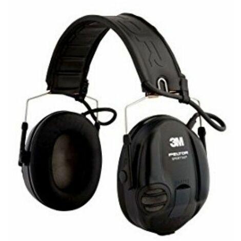 Sportac Casque Peltor Anti Bruit Actif Spécial Chasse, SNR 26dB, Noir - noir