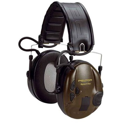 Sportac Casque Peltor Anti Bruit Actif Spécial Chasse, SNR 26dB, Vert Militaire - noir
