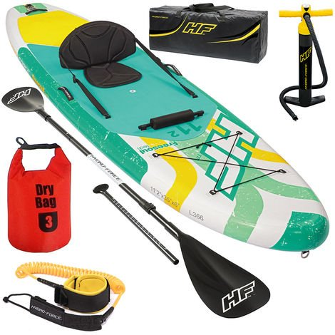 SPORTANA SUP Kayak Set 340x89x15cm up to 160kg Windsurf Sail Connection 3L Dry Bag iSUP Stand UP Paddle Board