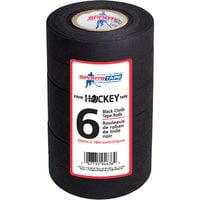 Sportstape 24mm Black Ice Hockey Cloth Stick Tape Roller Grip Wrap - 6 Pack