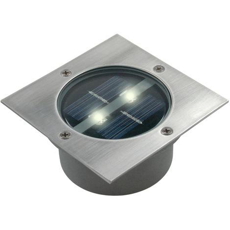 Spot 2 LED solaire encastrable Carlo Ranex - Carré - Argent
