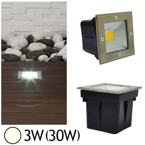Spot 230V encastrable extérieur LED COB 3W Carré