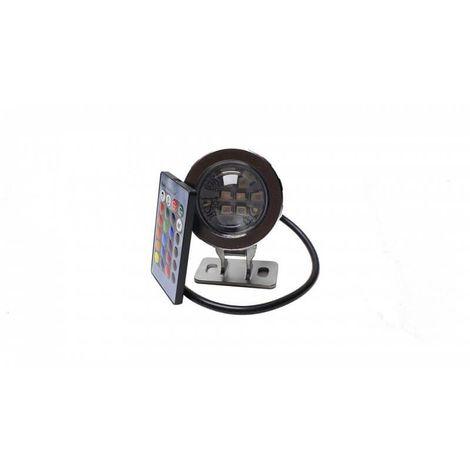 Spot à LED 10w étanche chromothérapie 12v RGB + blanc avec télécommande
