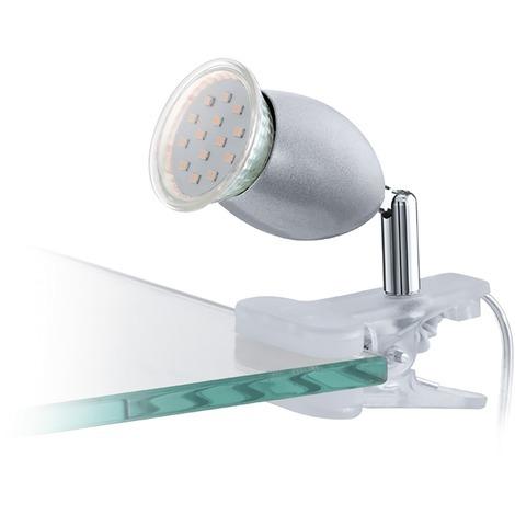 Spot à pince LED Banny Eglo - 200 lumens - Blanc et argent