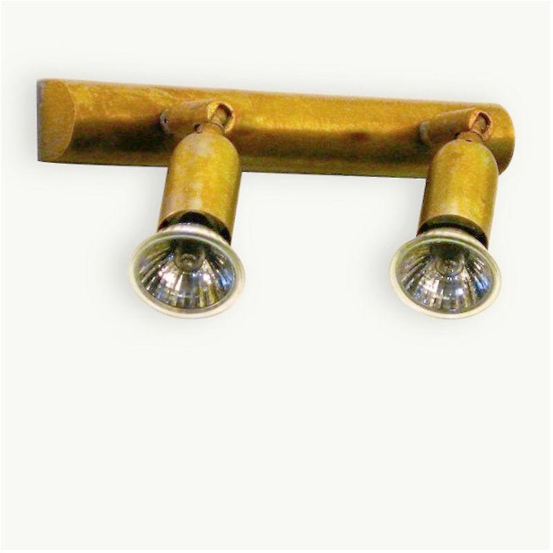 Spot ba-fox f2 gu10 led ottone faretti orientabili snodabili lampada parete classica rustica interno