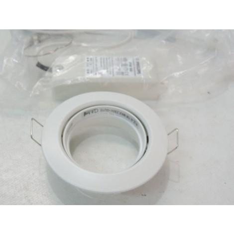 Spot blanc Ø 85mm orientable avec douille G5.3 pour lampe 12V (non incl) avec transfo dimmable ZADORA BBG463 PHILIPS 899944