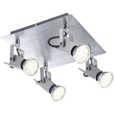 Spot de plafond à LED, ALU brossé, L 22 cm, CLIMAX