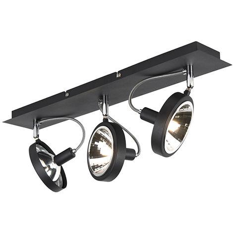 Spot de Plafond Design noir 3 lumières réglable - Nox Qazqa Moderne Luminaire interieur