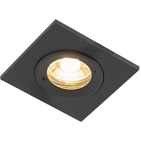 Spot de Plafond encastrable Moderne noir IP44 - Xena Square Qazqa Moderne Luminaire exterieur IP44