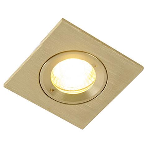 Spot de Plafond encastrable Moderne or IP44 - Xena Square Qazqa Moderne Luminaire exterieur IP44