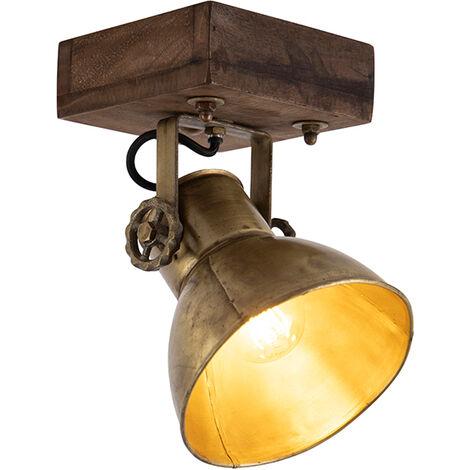 Spot de plafond Industriel / Vintage bronze avec bois 18 cm - Mangoes Qazqa Industriel / Vintage Luminaire interieur Rond