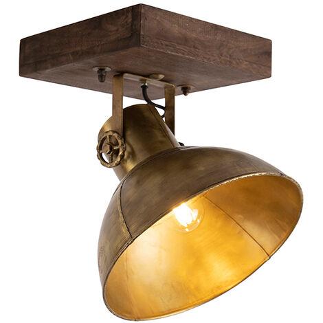 Spot de plafond Industriel / Vintage bronze avec bois 30 cm - Mangues Qazqa Industriel / Vintage Luminaire interieur Rond