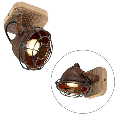 Spot de Plafond Industriel / Vintage brun rouille avec bois inclinable - Gina Qazqa Industriel / Vintage Cage Lampe Luminaire interieur Rond