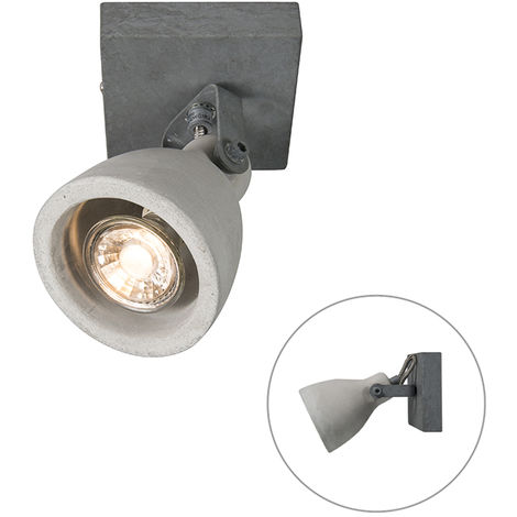 Spot de Plafond Industriel / Vintage en béton gris à 1 lumière - Creto Qazqa Industriel / Vintage Luminaire interieur Rond