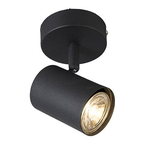 Spot de Plafond Industriel / Vintage inclinable noir - Jeana 1 Qazqa Moderne Cage Lampe Luminaire interieur Rond